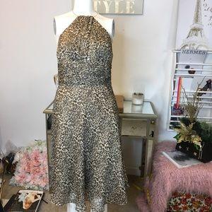 Laundry Leopard Silk Halter Necklace Dress Sz 4